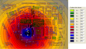 Modélisation avant traitement acoustique sous CADNAA logiciel de prévision du bruit en extérieur